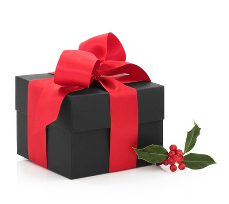 Christmas black gift box tied with a red satin ribbon and bow, with holly berry leaf sprig, isolated over white background. Stock Photo - 7978712