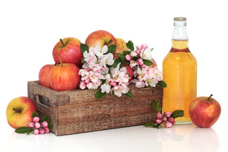 Cider bottle with red gala apples in a rustic wooden box with apple flower blossom, isolated over white background. photo
