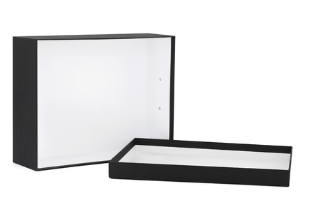 Black box, rectangle shaped, with lid off, over white background. Stock Photo - 8624882