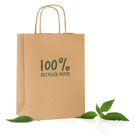 Recycled brown paper shopping bag with symbol and handle and green leaf sprigs, over white background. Stock Photo