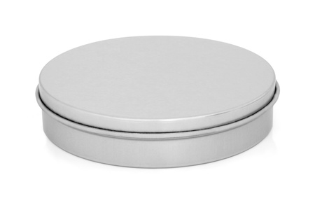 Round metal tin can in brushed stainless steel with lid on, over white background.   Stock Photo - 8667882