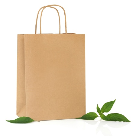 commercial recycling: Recycled brown paper shopping bag with handle and green leaf sprigs, over white background.