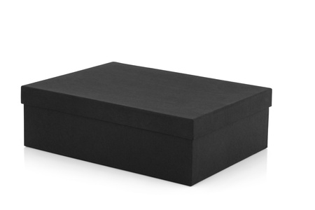 lid: Black box rectangle shaped with lid on, over white background. Stock Photo