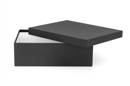 Black box, rectangular shape, with lid off, over white background. Stock Photo - 8879243