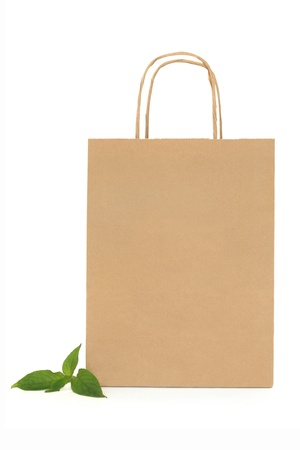 Recycled brown paper shopping bag with handle and green leaf sprigs, over white background. photo