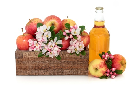 Cider bottle with gala apple variety and spring flower blossom in a rustic wooden box isolated over white background. photo
