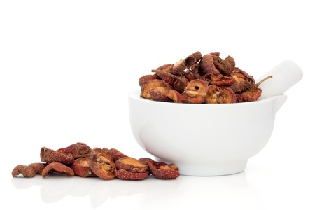 Dried hawthorn fruit used in chinese herbal medicine in a porcelain mortar with pestle and scattered, isolated over white background. Shan zha. Fructus crataegi.