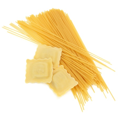 Ravioli pasta with spaghetti isolated over white background. Stock Photo - 9709253