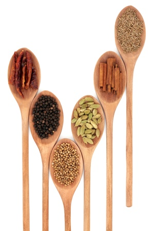 Spice selection of chili, peppercorn, coriander seed, cardamom pod, cinnamon stick and cumin seed  in six wooden spoons isolated over white background. Stock Photo - 9815579
