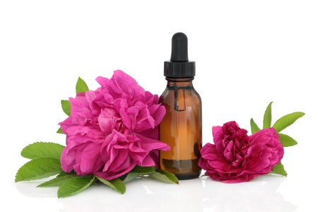 attar: Rose flowers with aromatherapy essential oil glass bottle isolated over white background.