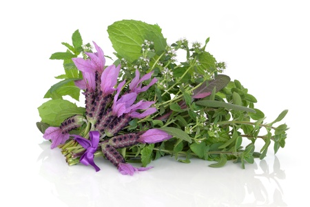 thyme: Lavender and thyme herb flowers with oregano, lemon balm  and green and purple sage leaves in a bunch isolated over white background, herbs used in alternative medicine. Stock Photo