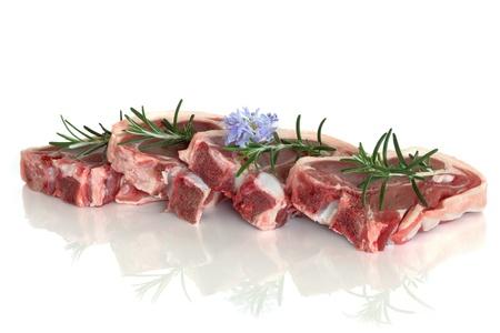 carne cruda: Lamb chop carne cruda con rosmarino erba fiore foglia rametto isolato su sfondo bianco.