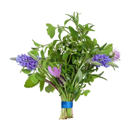 Herb leaf and flower posy  of lavender varieties, oregano, chive, rosemary, lemon balm,  eyebright and thyme varieties isolated over white background. photo