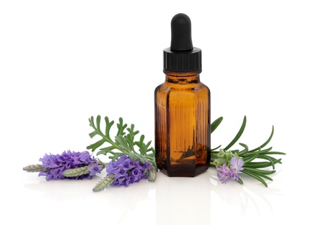 Lavender and rosemary flower and herb leaf sprigs with essential oil brown glass dropper bottle, isolated over white background.