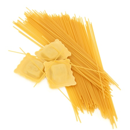 Ravioli pasta with spaghetti isolated over white background. Stock Photo - 10615834