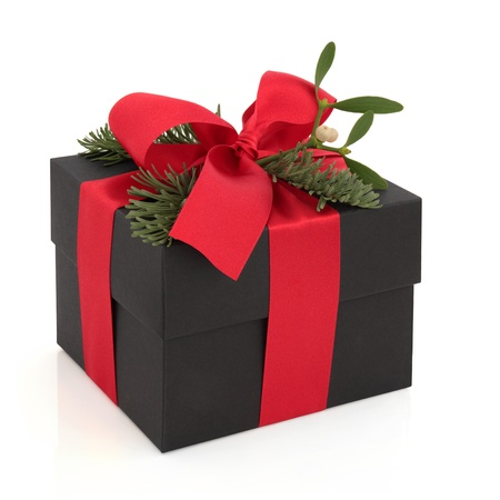 Christmas gift box decorated with red satin ribbon and bow with mistletoe, blue pine fir leaf sprig isolated over white background. Stock Photo - 10914799