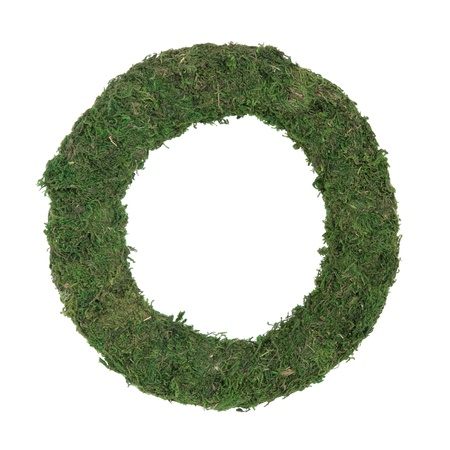 Moss wreath frame for flora and fauna displays over white background. Stock Photo