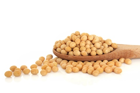 Soya bean pulses in a wooden spoon and scattered isolated over white background. Selective focus.