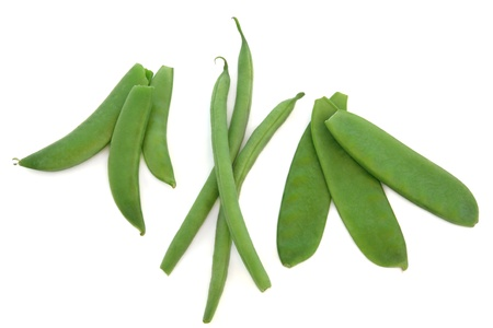french bean: Pea vegetables in pods with french green beans and mangetout, isolated over white background.