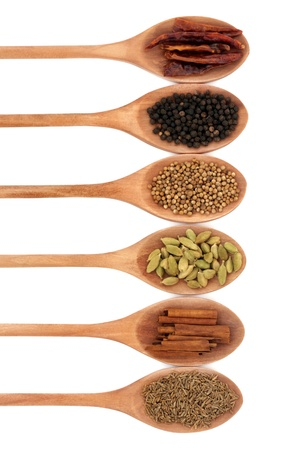 Spice selection in wooden spoons of chili, peppercorns, coriander, cardamom, cinnamon and caraway isolated over white background. photo