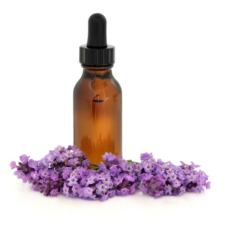 Lavender herb flower sprigs  with an aromatherapy essential oil glass bottle isolated over white background  Lavandula  photo