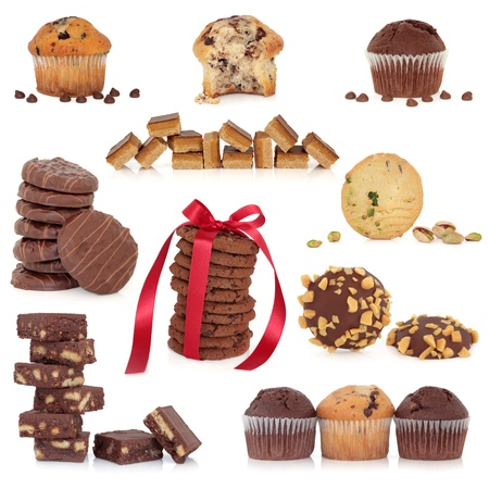 Large collection of chocolate cookies, biscuits, candy and muffin cakes isolated over white background  photo