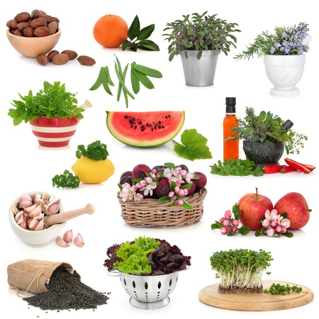 Healthy food collection high in antioxidants and vitamins isolated over white background  photo