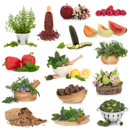 Large collection of healthy food high in antioxidants and vitamins isolated over white background  photo