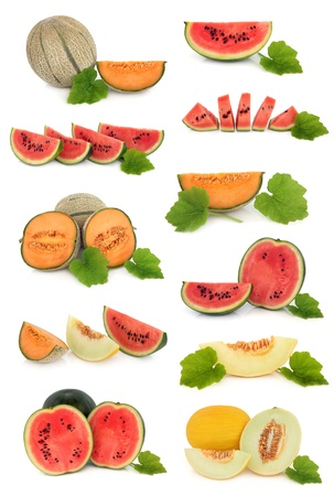 Fruit collection of watermelon, cantaloupe and honeydew melon varieties with leaf sprigs isolated over white background  Stock Photo
