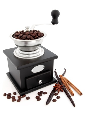 Retro coffee grinder with fresh roasted beans, vanilla pods, cinnamon sticks and star anise spice over white background  photo