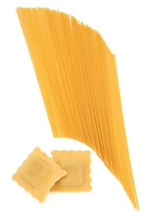 raviolo: Ravioli and spaghetti pasta on a white background  Stock Photo
