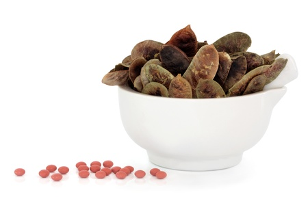 Senna pods in a porcelain mortar and pestle with loose tablets over white background  Alternative laxative remedy