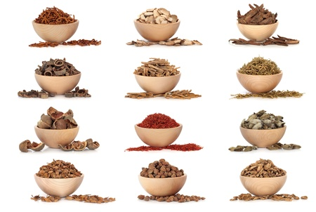 Collection of traditional chinese herbal medicine in beech wood bowls isolated over white background