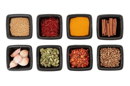 Spice collection of coriander and mustard seed, chili flakes, saffron,  cinnamon sticks, cardamom pods, turmeric, garlic cloves in black square dishes on white background  photo