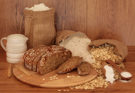 Soda bread ingredients on oak background  Selective focus  photo