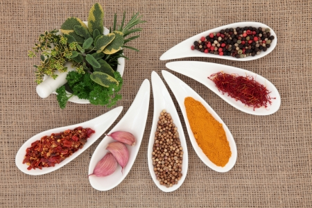 sampler: Spice and fresh herb selection in porcelain dishes and mortar with pestle over hessian background