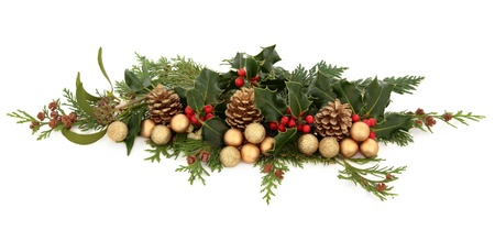 ivy: Christmas decorative floral arrangement of holly, mistletoe, ivy, cedar leaf sprigs, golden bauble clusters and pine cones over white background