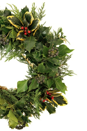 sprigs: Christmas decorative natural wreath of holly, ivy and cedar cypress leaf sprigs over white background.