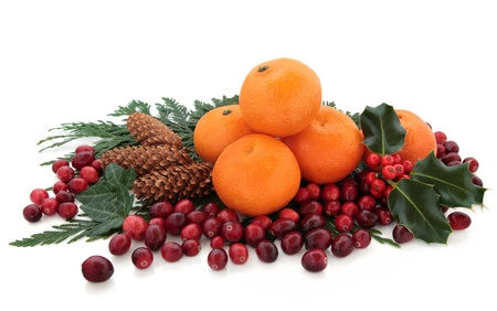 cranberry fruit: Christmas mandarin orange and cranberry fruit with holly, pine cones and cedar cypress leaf sprigs over white background  Stock Photo