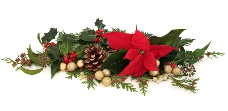 Christmas decorative floral arrangement of a poinsettia flower, holly, mistletoe, ivy, cedar cypress leaf sprigs, pine cones and gold sparkling baubles over white background Stock Photo - 15539492