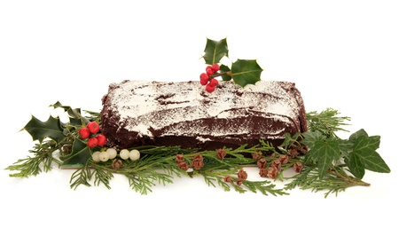 yule: Yule log chocolate christmas cake with flora decoration of holly, ivy, mistletoe and cedar cypress leaf sprigs with pine cones over white background