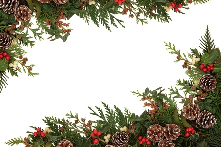 houx: Noël frontière de houx, de lierre, le gui et branches de cèdre feuilles de cyprès avec des pommes de pin sur fond blanc