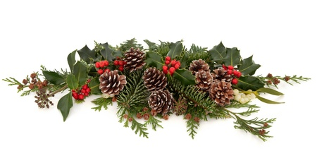 festive pine cones: Winter and christmas floral decoration of holly with red berry clusters, mistletoe,  ivy and cedar leaf sprigs with pine cones over white background