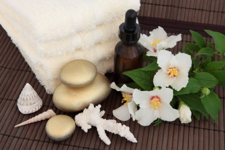 philadelphus: Rose syringa flower blossom with aromatherapy essential oil bottle, gold spa stones, shells and cream hand towels over bamboo background  Stock Photo