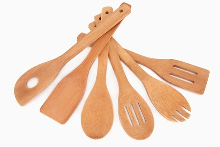 Wooden cooking utensil selection  over white background  Stock Photo - 15975661