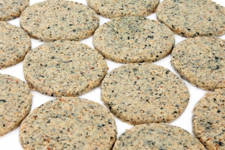 iodine: Laverbread oatcake biscuits over white background  Welsh speciality