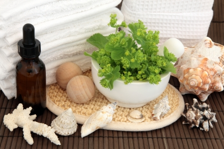 Ladies mantle herb in a mortar with pestle, aromatherapy spa bottle, shells, white,towels and linen sponge, exfoliating rub, and bath balls over bamboo background Stock Photo - 16100830