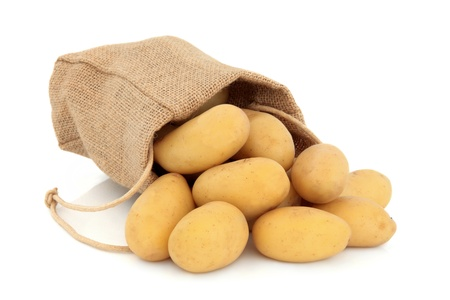 New potato vegetables in a hessian drawstring sack and loose over white background, charlotte variety  Stock Photo - 16100811