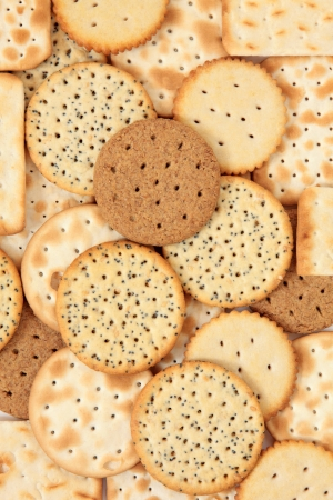 Cracker biscuit selection forming a background Stock Photo - 16244210