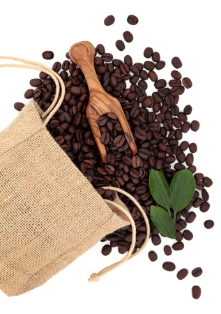 Coffee beans in a hessian drawstring sack and loose with leaf sprigs and olive wood scoop over white background  Stock Photo - 16383865